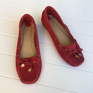 [MMK] Leather Red Loafers Tie Square Toe Suede